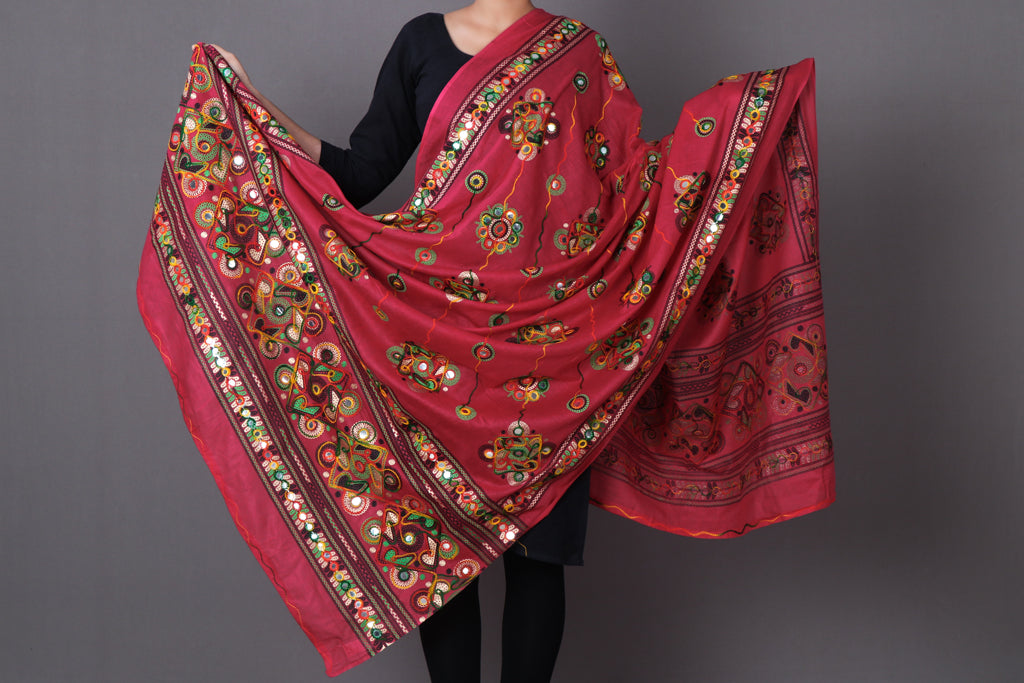Jaipur Printed Cotton Thread Work Dupatta