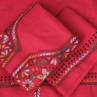 Bengal Kantha Embroidery Pure Cotton 3pc Suit Material Set