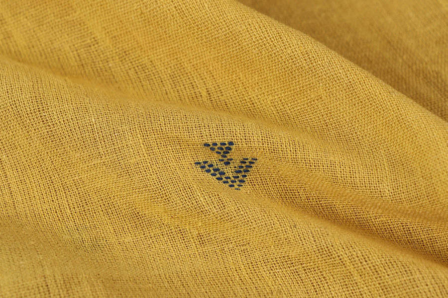 Organic Kala Cotton Pure Handloom Yellow Small Buti Fabric