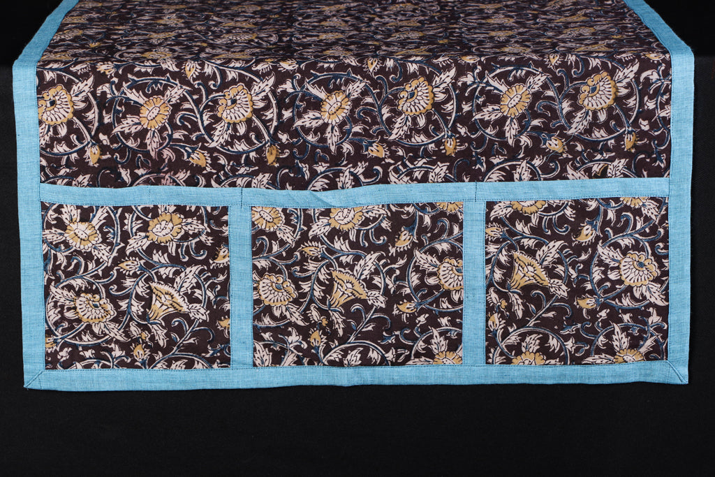 Handmade Pure Cotton Fridge Top Cover with Multiple Pockets
