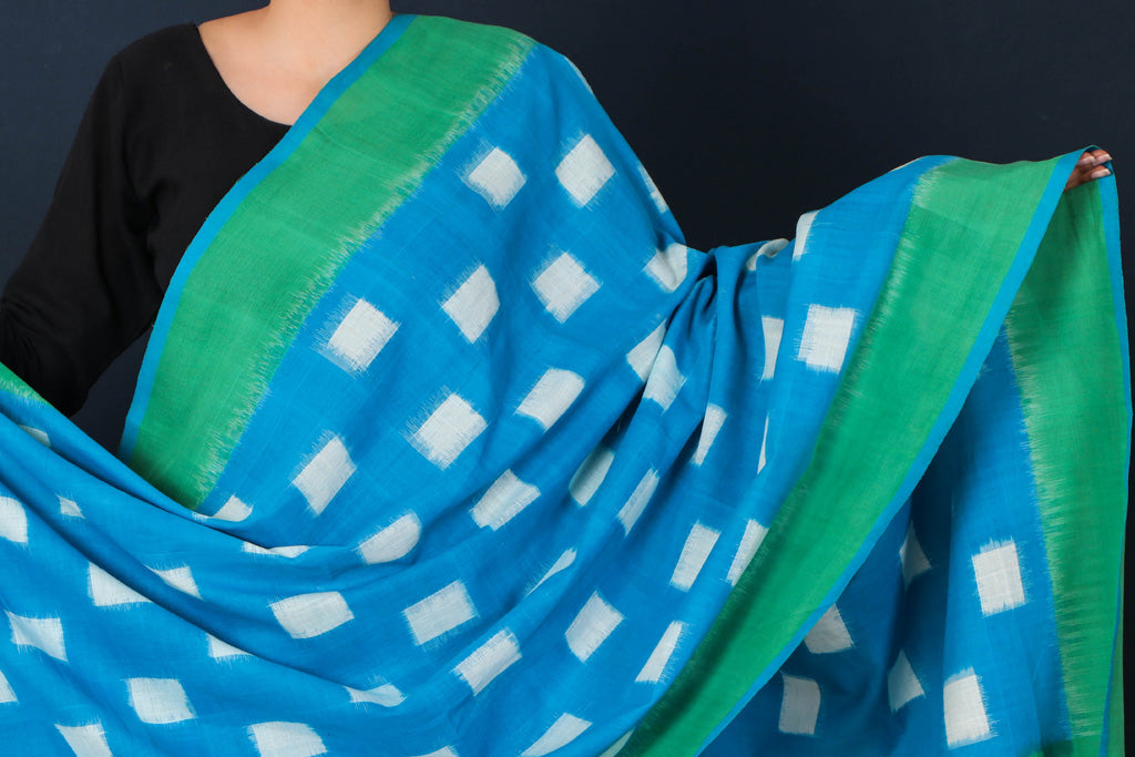 Handwoven Pochampally Ikat Cotton Dupatta