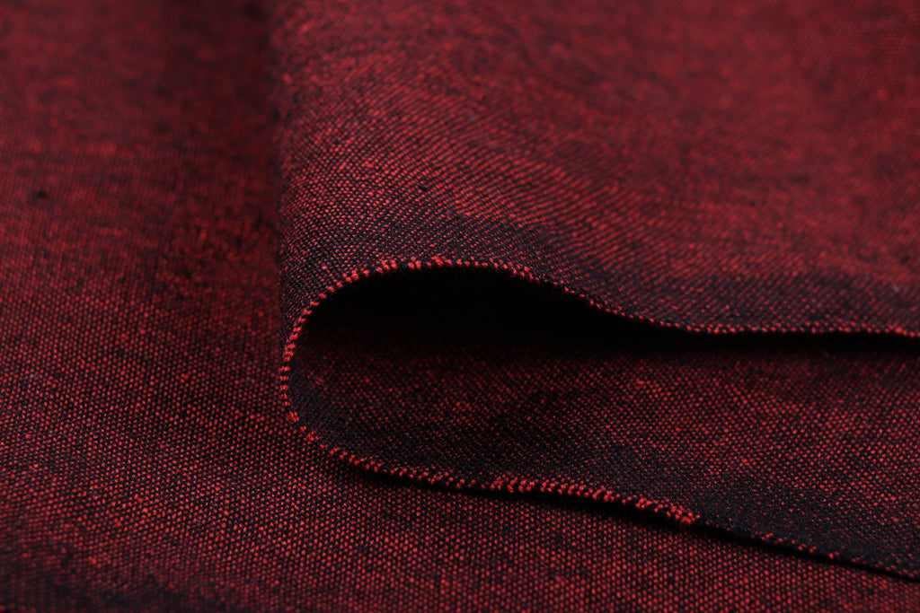 Dark Burgundy - Jhiri Pure Handloom Cotton Fabric (Width - 48in)