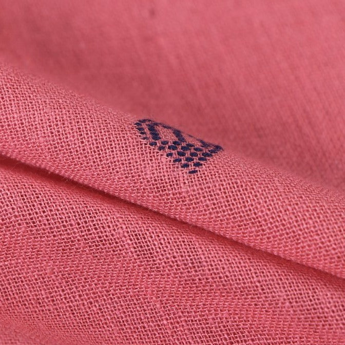 Organic Kala Cotton Pure Handloom Carrot Pink/Blue Buti Fabric