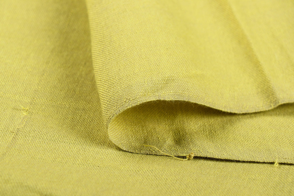 Lime Yellow - Jhiri Pure Handloom Cotton Fabric (Width - 48in)