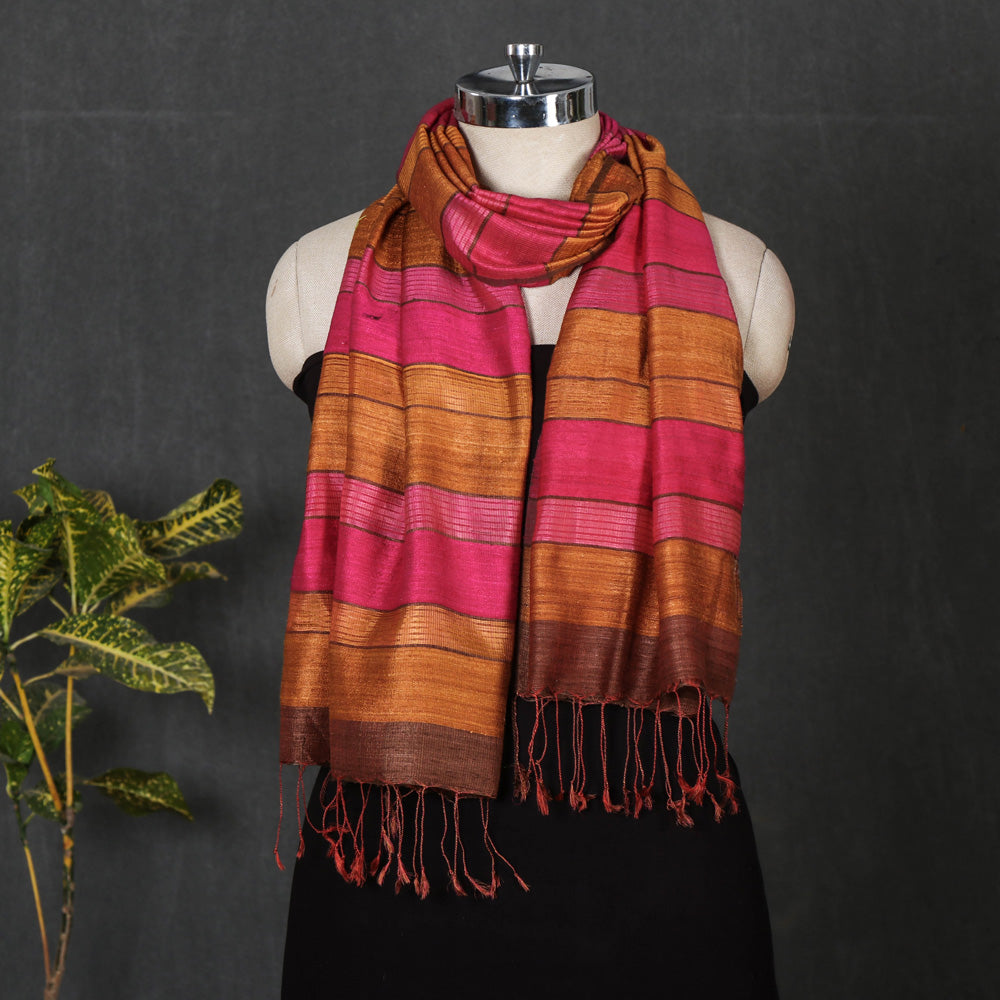 Handwoven Silk Stole with Tassels