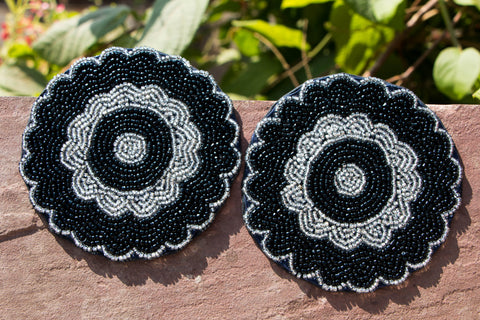 Handmade Hapur Bead Work Coasters (Set of 2)