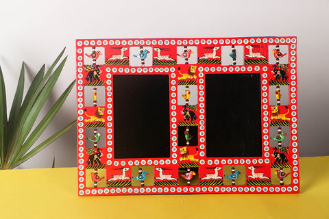 Handpainted Wooden Animal Double Photo Frame (Big)