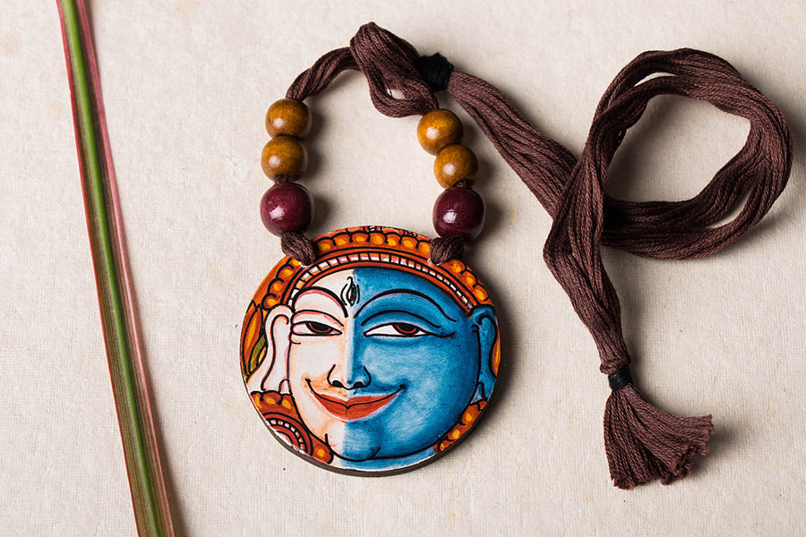 Kerala Mural Hand Painted Wooden Necklace by Sujith