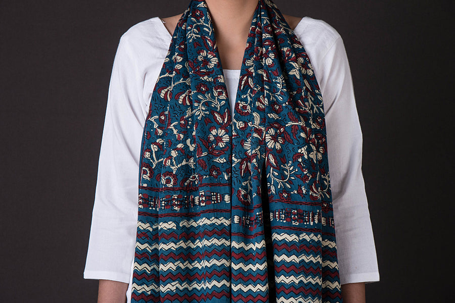 Ajrakh Block Print Natural Dyed Modal Silk Stole