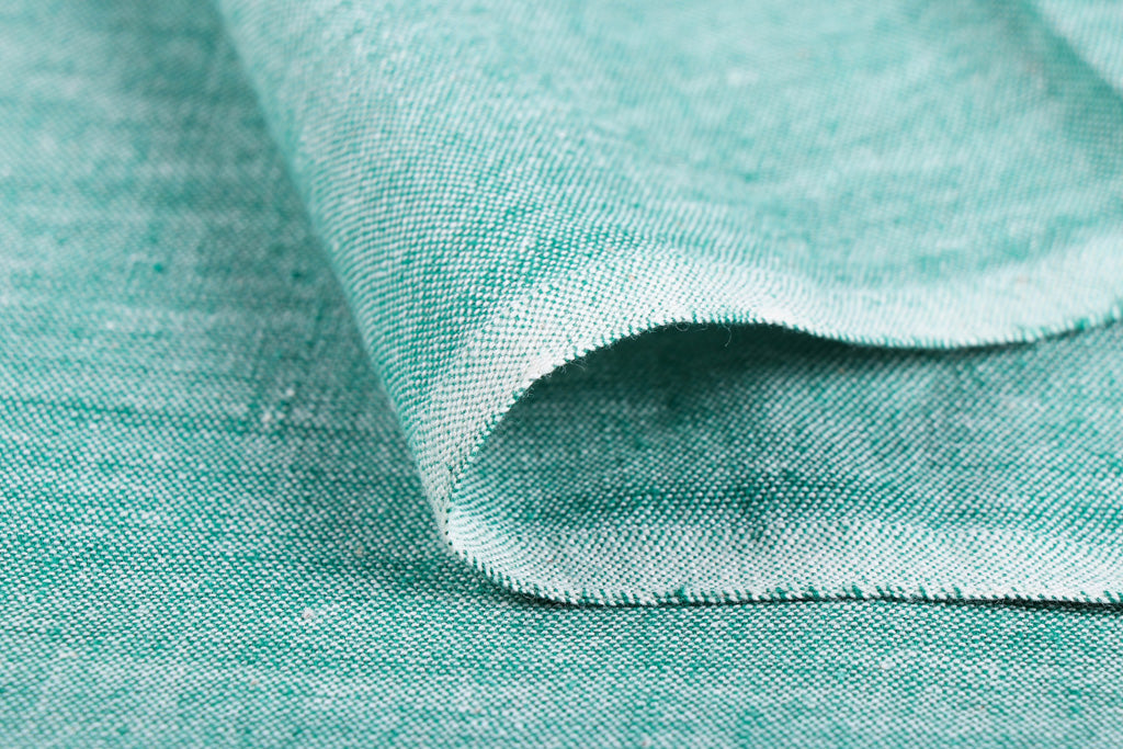 Mint Green - Jhiri Pure Handloom Cotton Fabric (Width - 48in)