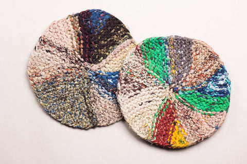 Upcycled Fabric Round Trivets (Set of 2 )