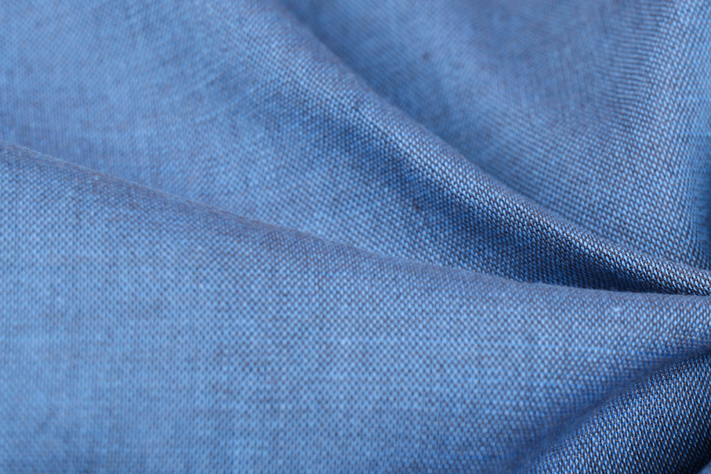 Light Blue - Jhiri Pure Handloom Cotton Fabric (Width - 48in)