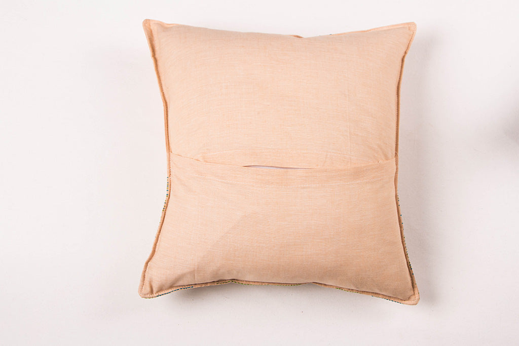 Sonapani Tagai Work Cotton Cushion Cover (16x16 inches)
