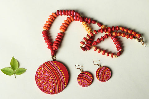 Miniature Hand-painted Wooden Necklace Set with Beads