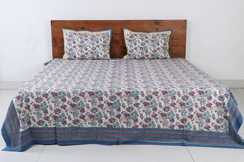 Sanganeri Hand Block Printed Cotton Double Bed Cover with Pillow Covers (106 in x 90 in)