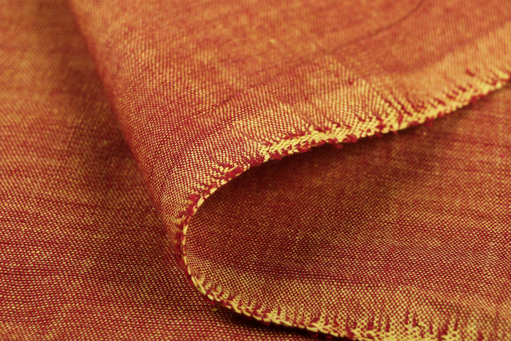 Golden Orange - Jhiri Pure Handloom Cotton Fabric (Width - 48in)