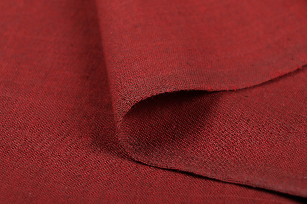 Brick Red - Jhiri Pure Handloom Cotton Fabric (Width - 48in)