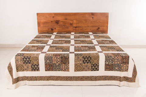 Reversible Kutch Tagai Embroidered Ajrakh Double Bed Cover (108x90 inches)