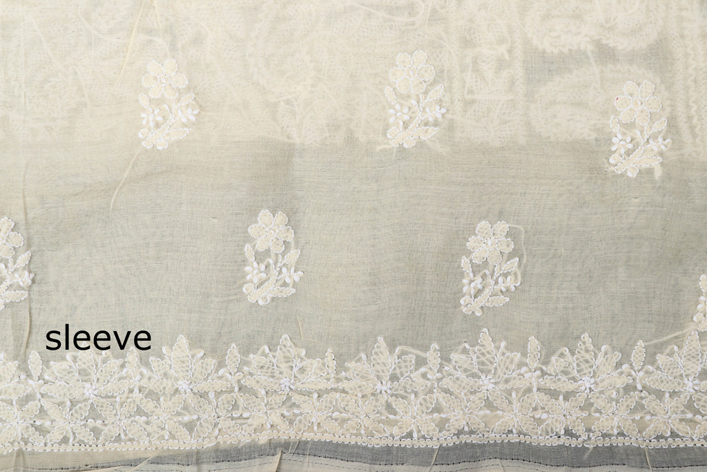 Lucknow Chikankari Hand Embroidered Cotton 3pc Suit Material Set with Chiffon Dupatta