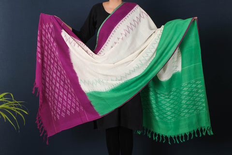 Pochampally Missing Ikat Cotton Handloom Dupatta