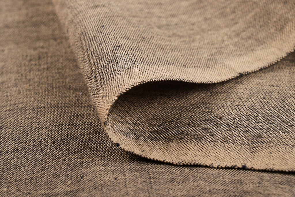 Brown - Jhiri Pure Handloom Cotton Fabric (Width - 48in)