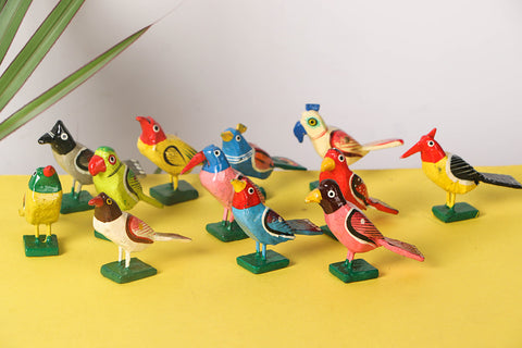 Handpainted Wooden - Big Birds (Set of 12)