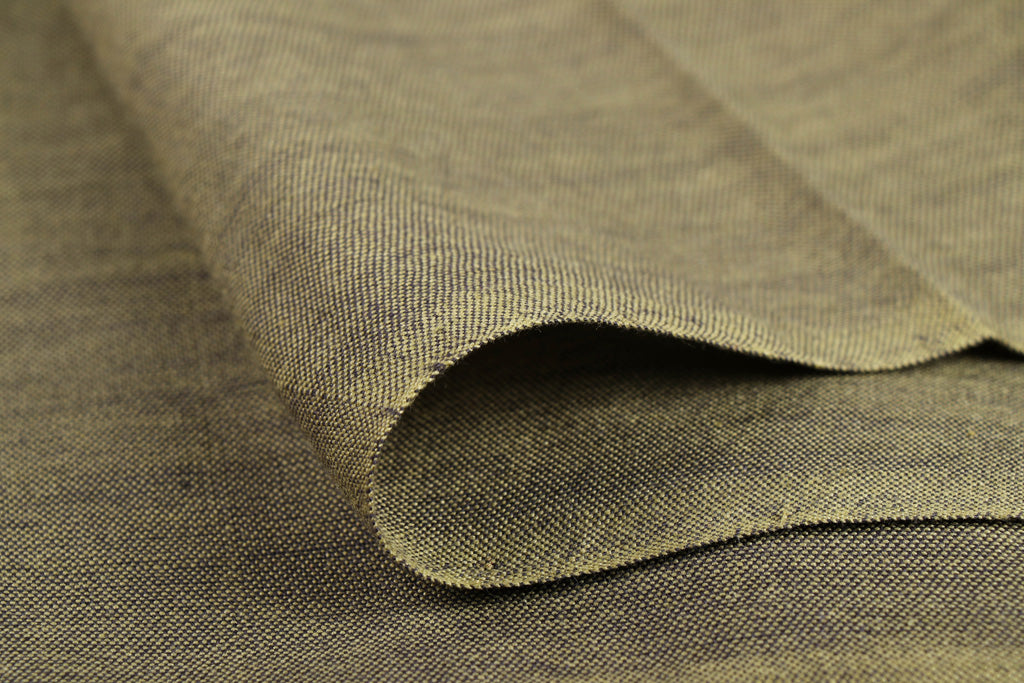 Olive Green - Jhiri Pure Handloom Cotton Fabric (Width - 48in)