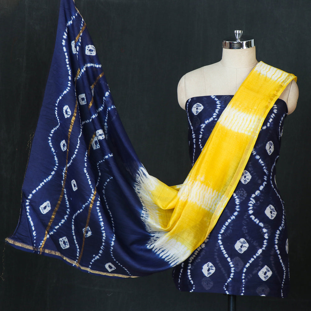 Shibori Tie-Dye Chanderi Silk 3pc Suit Material Set with Zari Border