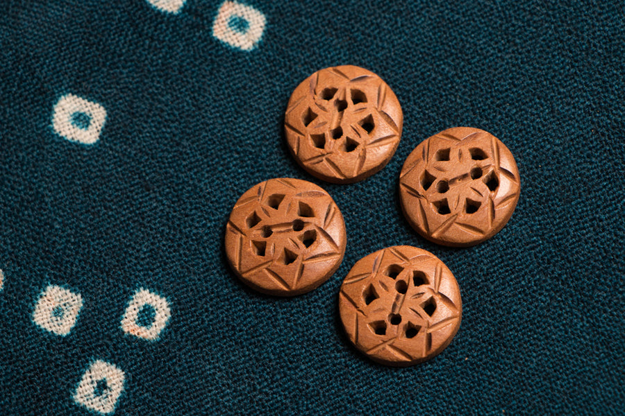 Handcarved Loquat Wood Jali Kurta Buttons - Medium (set of 4)