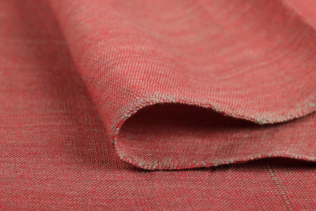 Indian Red - Jhiri Pure Handloom Cotton Fabric (Width - 56in)