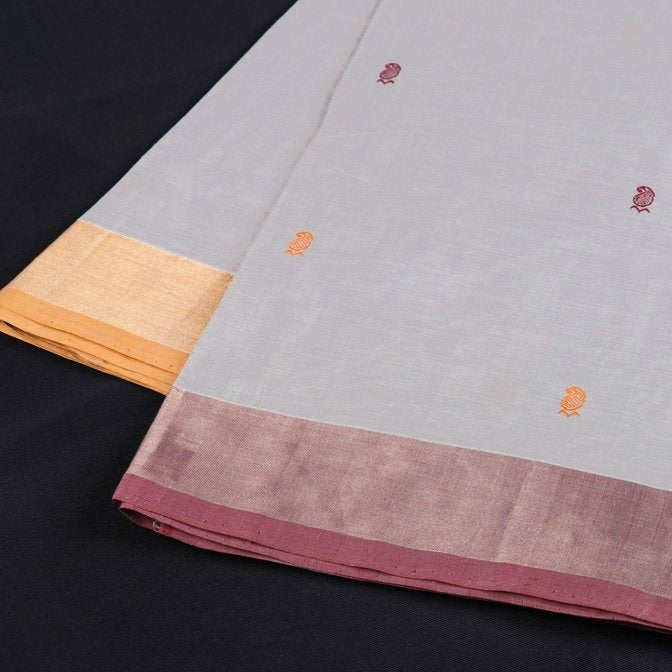 Kanchipuram Handloom Cotton Buti Fabric with Zari Border