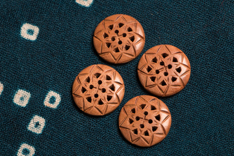Handcarved Loquat Wood Jali Kurta Buttons - Round (set of 4)