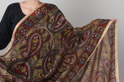 Special Kalam Work Kalamkari Fine Handpainted Handloom Chanderi Silk Dupatta with Zari Border