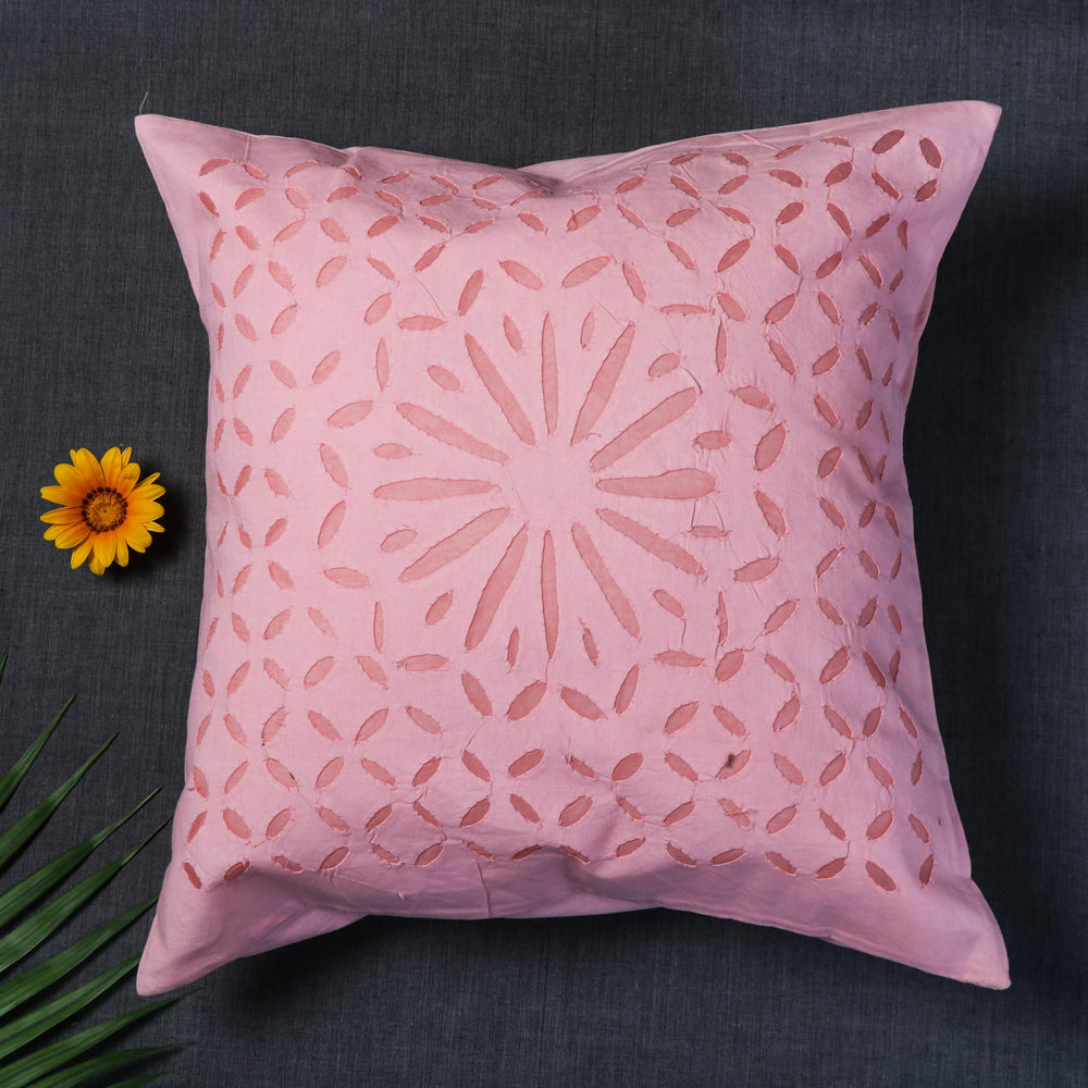 Applique Cut Work Cotton Cushion Cover (16 x 16 in)
