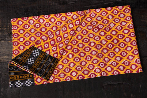 Rangoli Cotton Blouse Material with Ikat Border by Jalpari
