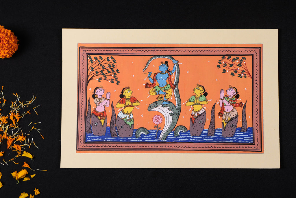 Patachitra Painting on Handmade Paper (22cm x 34cm)