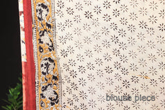 Kalamkari Hand Block Printed Natural Dyed Silk Cotton Saree with Blouse