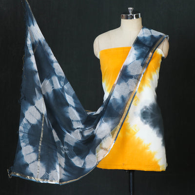 Shibori Tie-Dye Cotton 3pc Suit Material Set with Kota Doria Dupatta