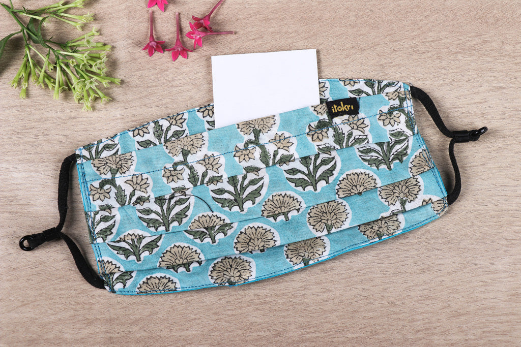 Sanganeri Block Printed 3 Layer Cotton Fabric Pleated Face Cover with Filter Pocket