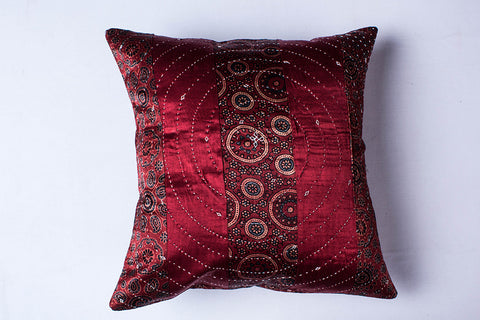 Kutch Tagai Embroidered Mashru Silk Cushion Cover (16in x 16in)
