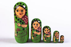 Handpainted Wooden Doll from Banaras (Set of 5)