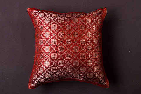 Traditional Pure Banarasi Handwoven Silk Zari Cushion Cover (16in x 16in)