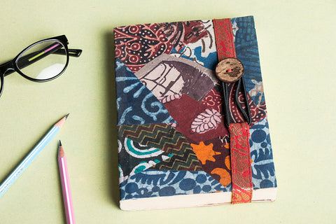 Jugaad Handmade Paper Patchwork Zari Kinari Diary with Button Lock (7in x 5in)