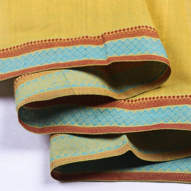 Original Mangalgiri Handloom Cotton Fabric with Border