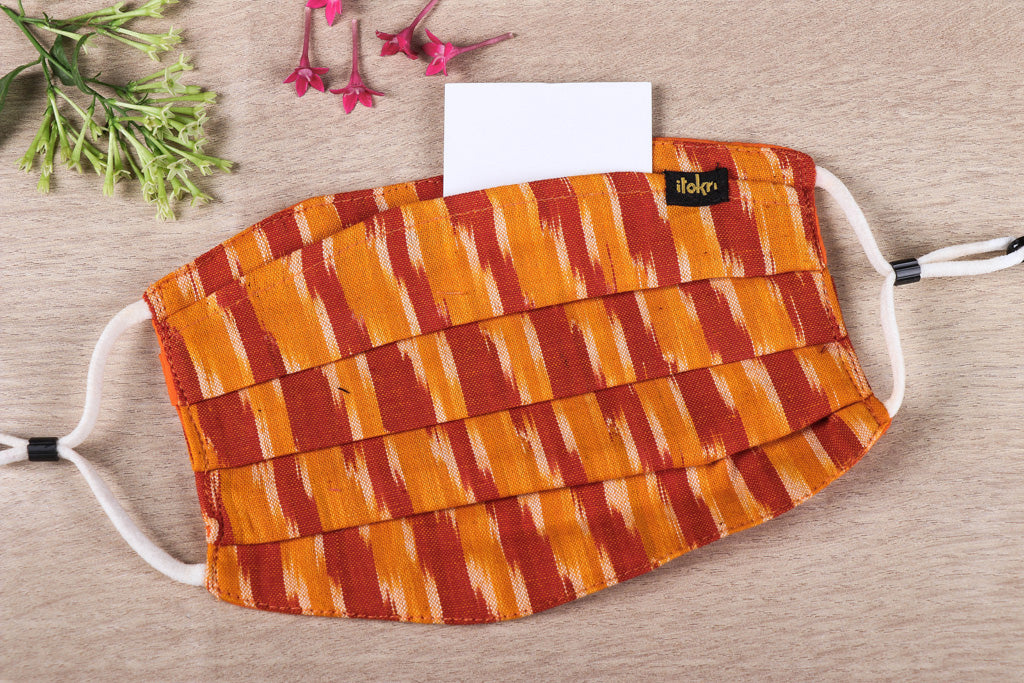 Pochampally Ikat Cotton Fabric 3 Layer Pleated Face Cover with Filter Pocket