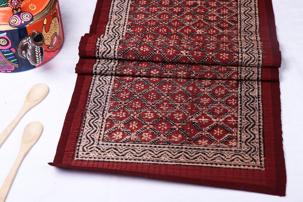 Special Natural Bamboo Bagh Block Printed Table Runner