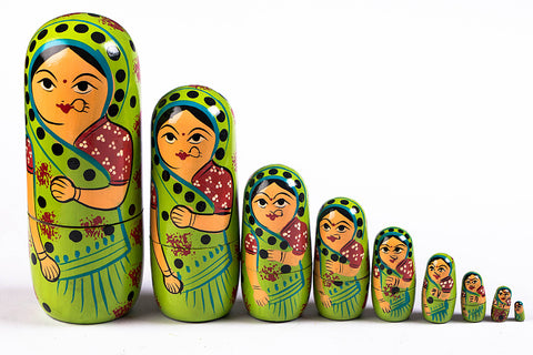 Handpainted Wooden Doll from Banaras (Set of 9)