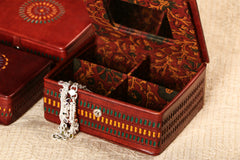 Handcrafted Kutch Leather Jewellery Box with Mirror - Big