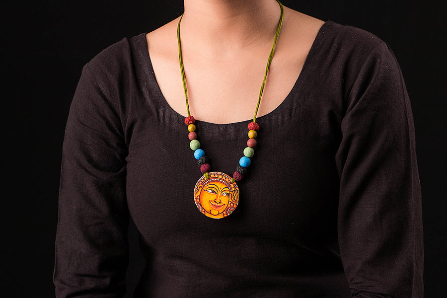 Kerala Mural Hand Painted Necklace
