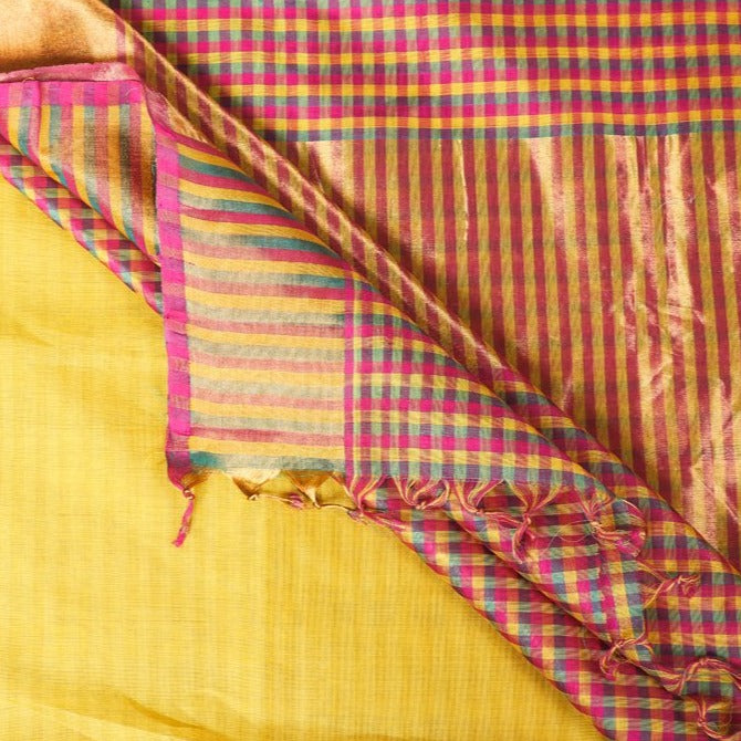Traditional Handloom Kanchipuram Silk Cotton Zari Saree from Tamil Nadu